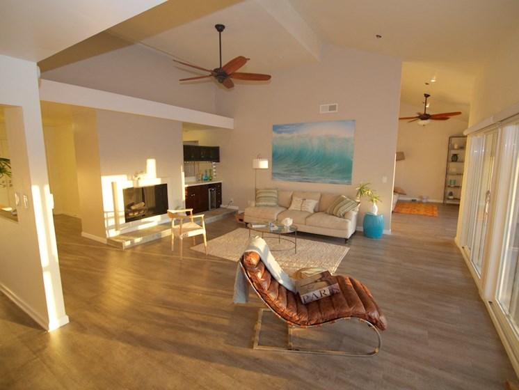 model unit livingroom at sunset
