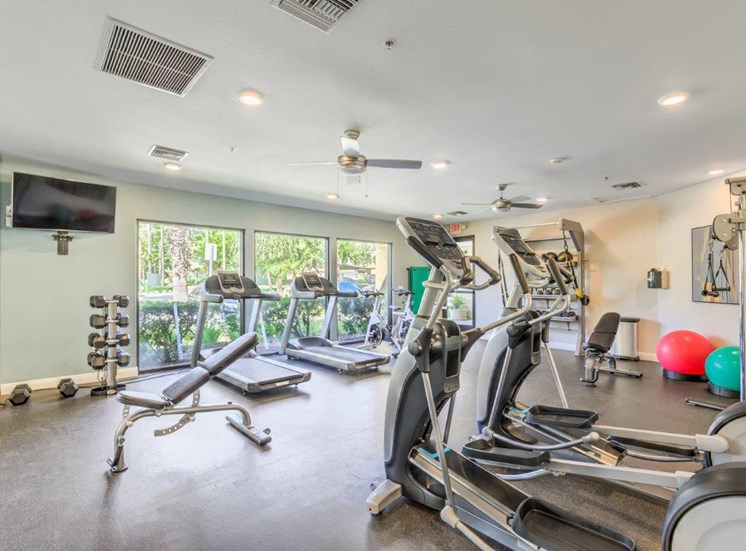 Riverside, CA Apartments - Stone Canyon Apartments Equipped Fitness Center with Various Cardio and Weight Machines