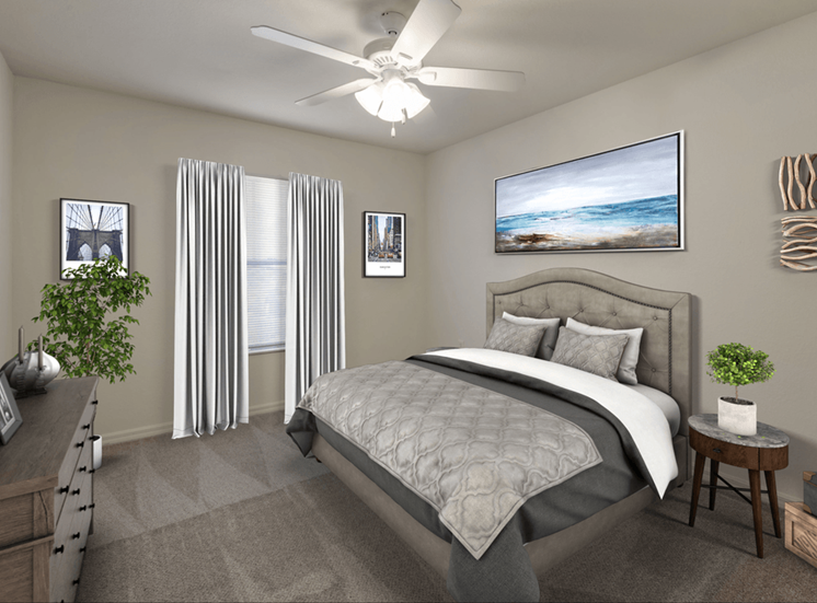 Virtually staged bedroom with carpet flooring, multi speed ceiling fan, dresser, bed, night stand, wall art, and large window for natural lighting
