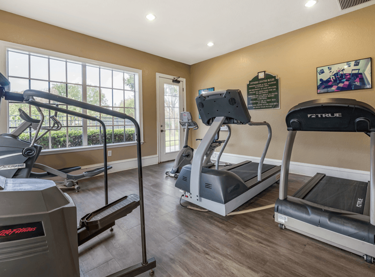 Fitness center cardio equipment, hardwood style flooring, and large windows for natural lighting