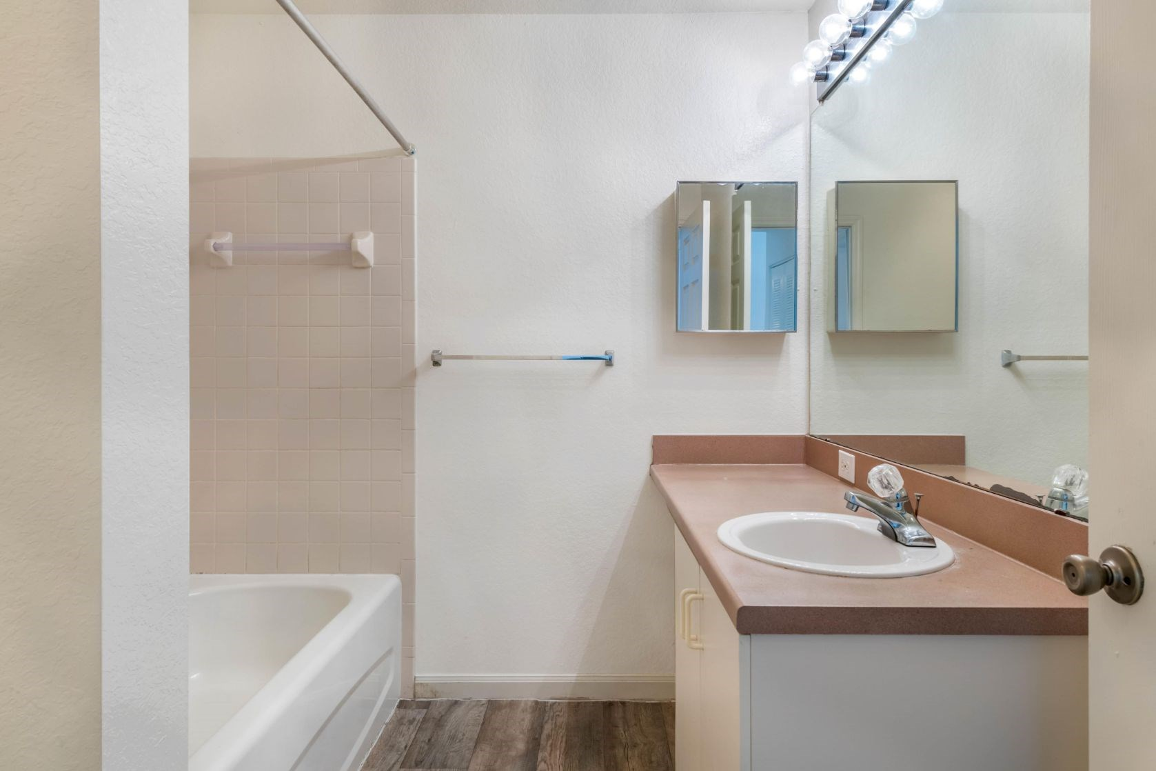 Whispering Woods | Bathroom with Tiled Shower & Vanity