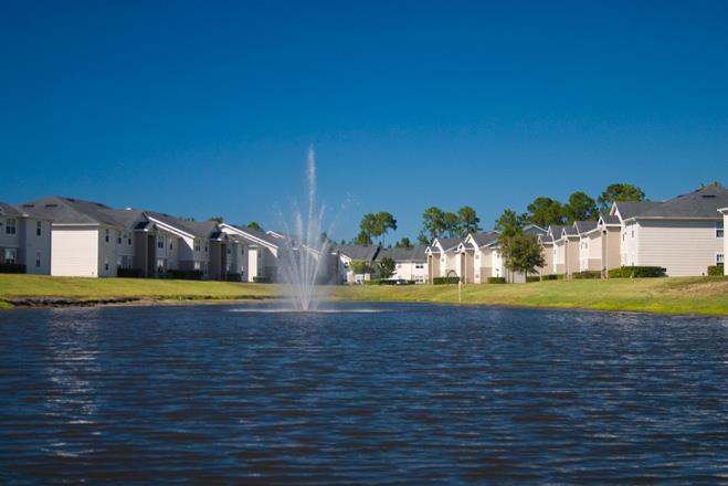Beautiful Lake with Fountain at Whispering Woods, Florida