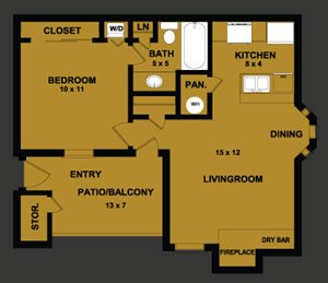 A1 | 554 SQ FT | 1 BED / 1 BATH