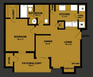 A2 | 665 SQ FT | 1 BED / 1 BATH