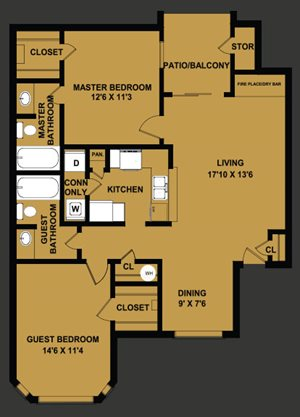 B1 | 965 SQ FT | 2 BED / 2 BATH