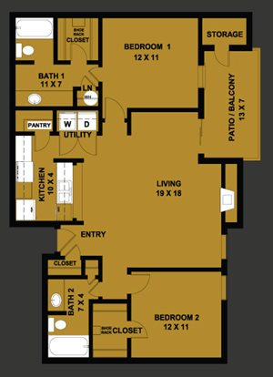 B2 | 1018 SQ FT | 2 BED / 2 BATH