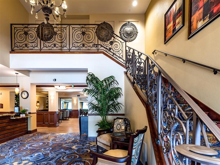 Sophisticated Staircase Entrance at Pacifica Senior Living Oxnard, Ventura County, CA