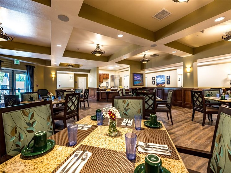 Elegant Dining Room Seating  at Pacifica Senior Living Oxnard, California