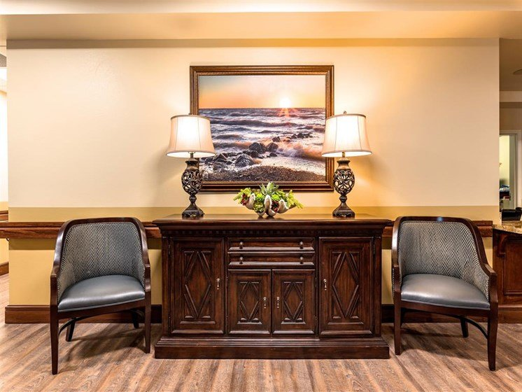 Seating Area Near Concierge at Pacifica Senior Living Oxnard, Ventura County, CA, 93036