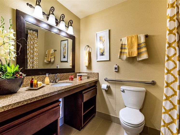 Luxury Bathrooms with Granite Countertops  at Pacifica Senior Living Oxnard, Ventura County, California
