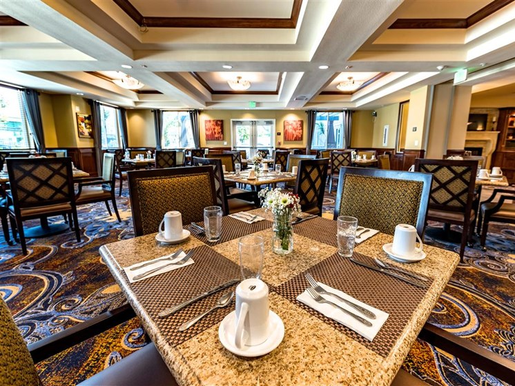 Elegant Dining Hall at Pacifica Senior Living Oxnard, Oxnard, CA, 93036