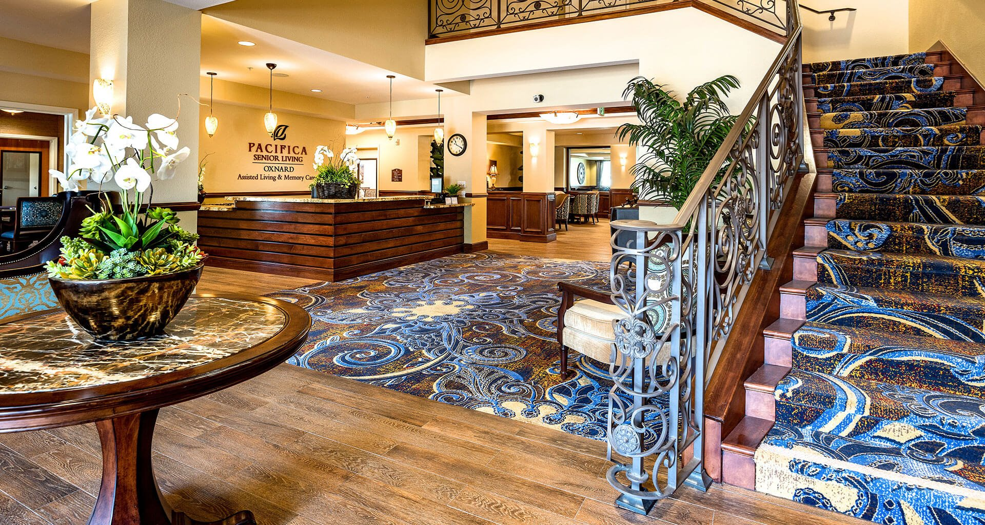 Decorated Reception And Lobby Area at Pacifica Senior Living Oxnard, Oxnard, 93036