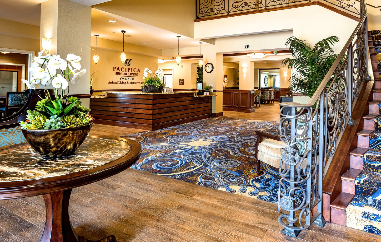 Inviting Reception Area at Pacifica Senior Living Oxnard, California