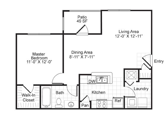 One  bedroom, one bath with dining area, patio and laundry room