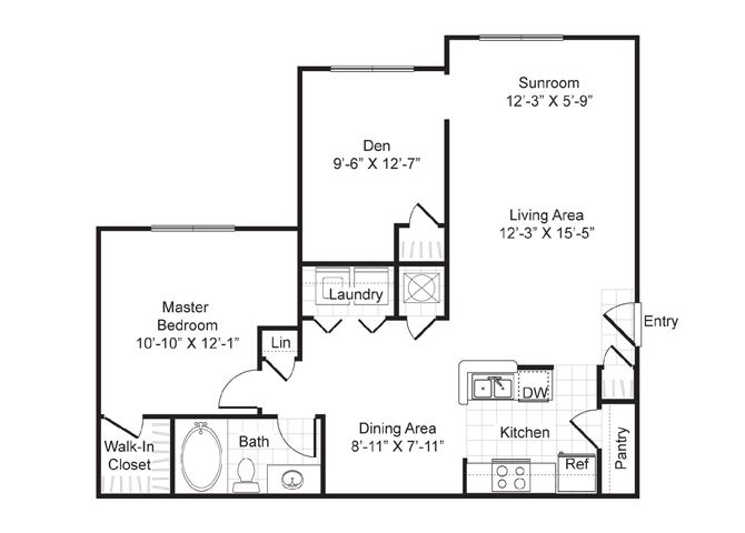 One  bedroom, one bath with dining area, extended living area, den, patio and laundry room