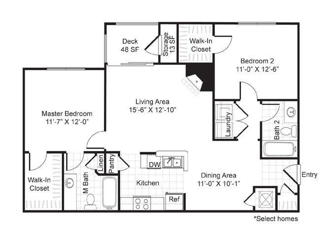 Two bedroom, two bath with dining area, deck and laundry room