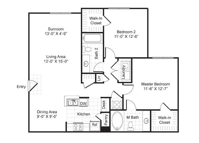Two bedroom, two bath with dining area, sunroom and laundry room