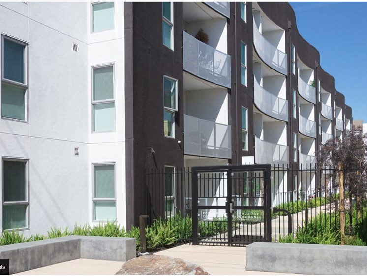 Apartment exterior with gated doors