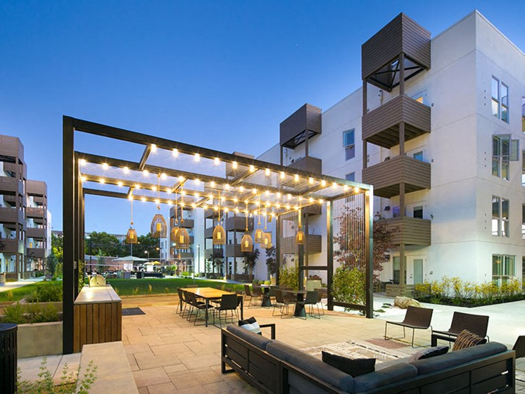 Night view of outdoor lounge area