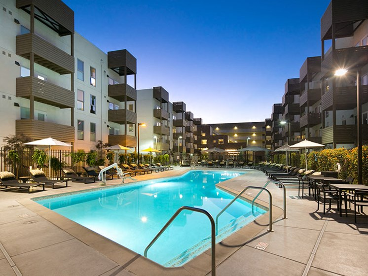 Night view of outdoor community pool
