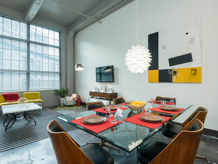 Loft Apartment dining room and living room