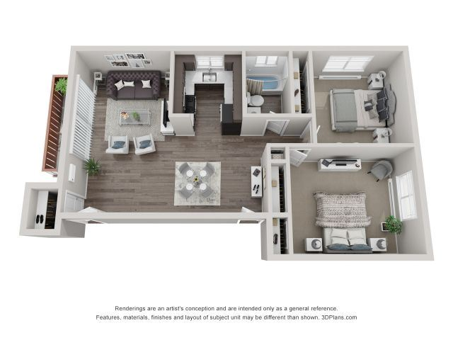 3D Two-Bedroom Apartment Floor Plan at Westmont Village, Westmont