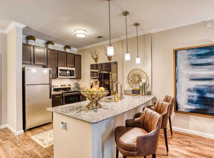 Fully Furnished Kitchen With Stainless Steel Appliances, at Carroll at Rivery Ranch, Georgetown, TX