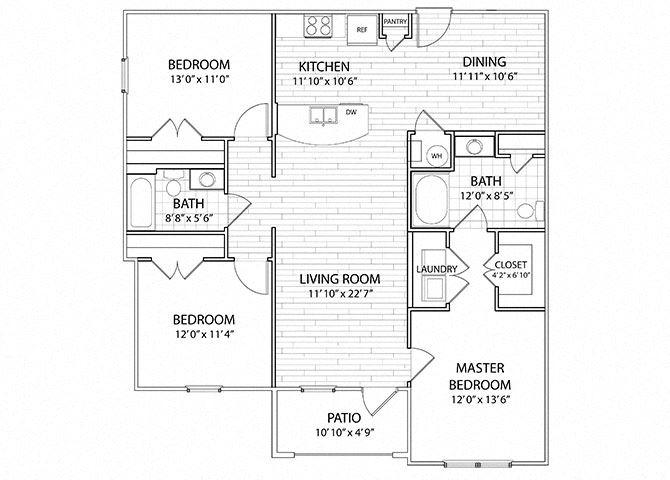 Apex | 3 Bedroom 2 Bath Apartment