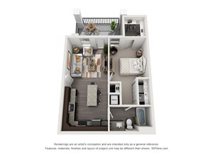 The Miller 3D. 1 bedroom apartment. Kitchen with island open to living room. 1 full bathroom. Walk-in closet. Patio/balcony.