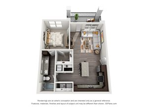 The Snow 3D. 1 bedroom apartment. Kitchen with island open to living room. 1 full bathroom, double vanity. Walk-in closet. Patio/balcony.