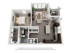 The Vera 3D. 1 bedroom apartment. Kitchen with island open to living room. 1 full bathroom. Walk-in closet. Patio/balcony.