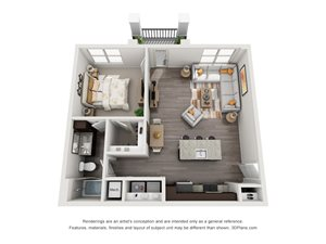 The Truth 3D. 1 bedroom apartment. Kitchen with island open to living room. 1 full bathroom. Walk-in closet. Patio/balcony.