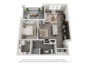 The Tyler 3D. 1 bedroom apartment. Kitchen with island open to living/dinning rooms. 1 full bathroom. Walk-in closet. Patio/balcony.