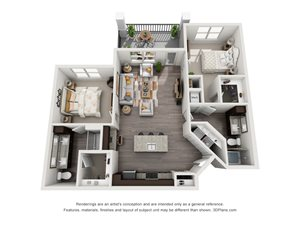The Freedman 3D. 2 bedroom apartment. Kitchen with island open to living room. 2 full bathrooms, double vanity in master. Walk-in closet. Patio/balcony.