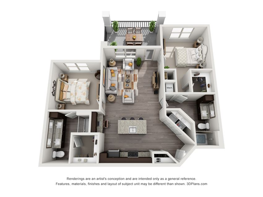The Stillwater 3D. 2 bedroom apartment. Kitchen with island open to living room. 2 full bathrooms, double vanity in master. Walk-in closet. Patio/balcony.