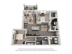 The Lockhart 3D. 2 bedroom apartment. Kitchen with island open to living/dinning rooms. 2 full bathrooms. Walk-in closet in master. Patio/balcony.