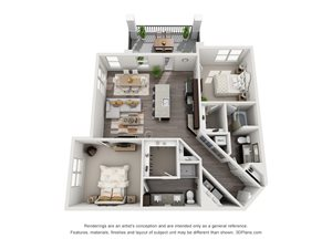 The Valentina 3D. 2 bedroom apartment. Kitchen with island open to living room. 2 full bathrooms, double vanity in master. Walk-in closets. Patio/balcony.