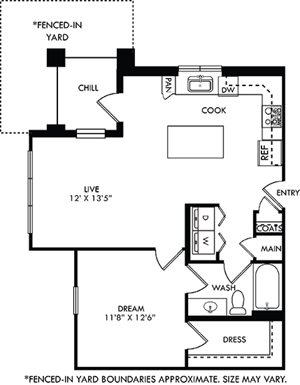 Vera with Fenced-in Yard. 1 bedroom apartment. Kitchen with island open to living room. 1 full bathroom. Walk-in closet. Patio/balcony open to yard.
