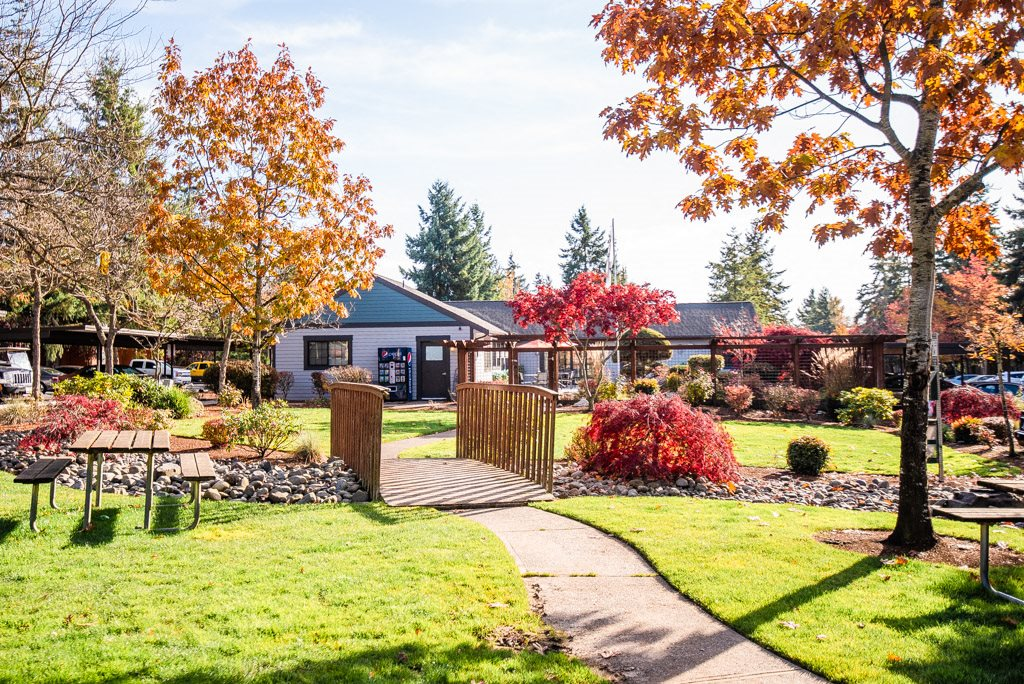 Tacoma Apartments - The Lodge at Madrona Apartments - Community Picnic Tables and Clubhouse Exterior