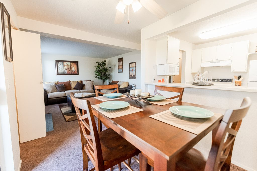 Tacoma Apartments - The Lodge at Madrona Apartments - Dining Room, Living Room, and Kitchen
