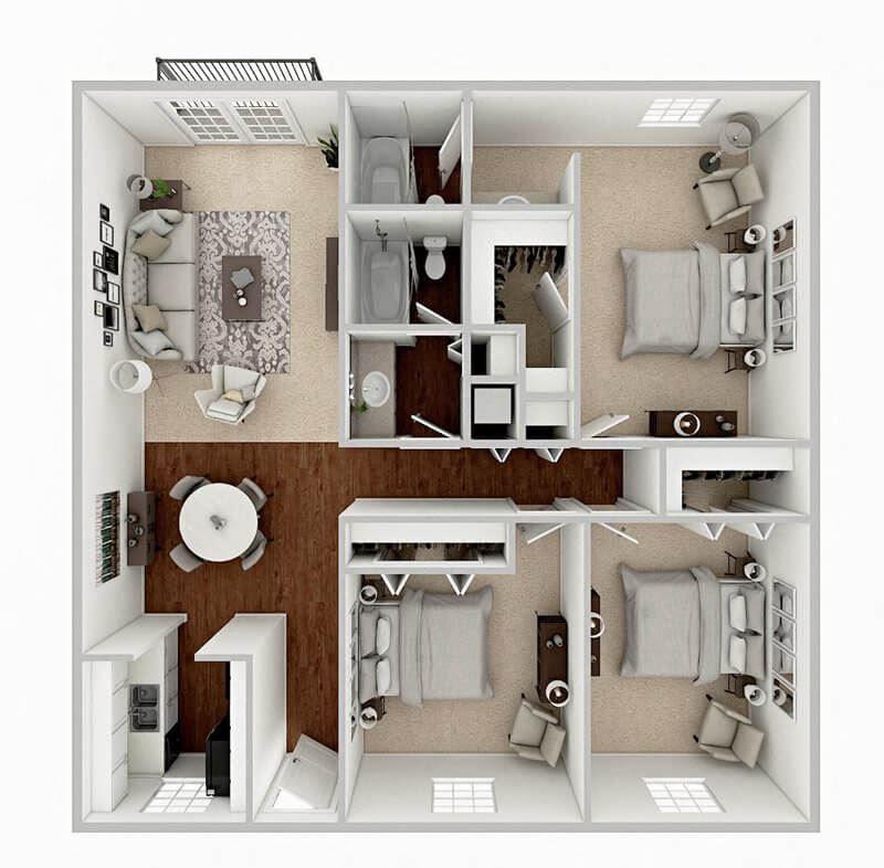 3 bedroom apartment floor plan baton rouge