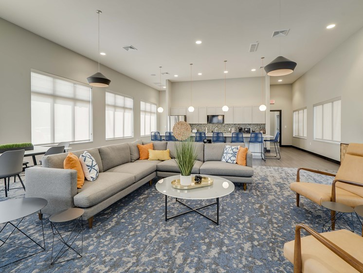 Spacious and comfortable clubhouse at The Flats at Shadow Creek new luxury apartments in east Lincoln NE 68520