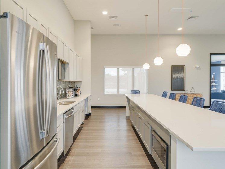 Kitchen available to residents in the clubhouse at The Flats at Shadow Creek
