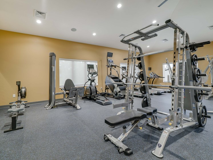 Modern gym and fitness center at The Flats at Shadow Creek new luxury apartments in east Lincoln NE 68520