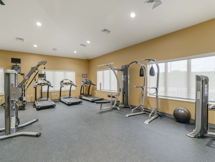 Fitness center with great equipment at The Flats at Shadow Creek new luxury apartments in east Lincoln NE 68520