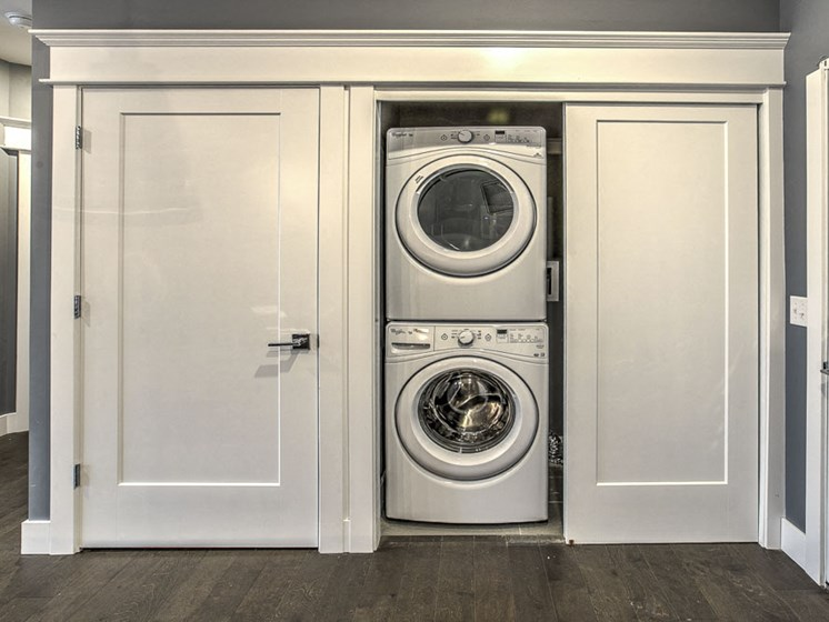 Washer and dryer available in unit at The Helen