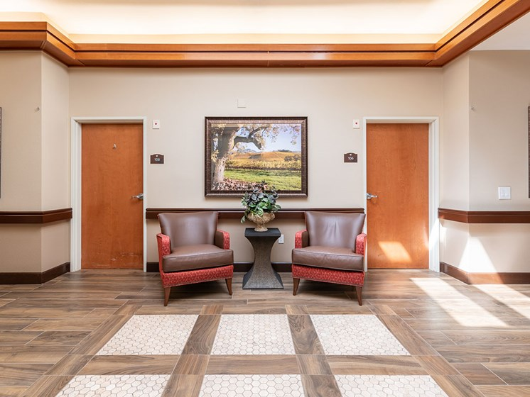 Chairs In The Hallway at Healdsburg, A Pacifica Senior Living Community, Healdsburg, CA, 95448