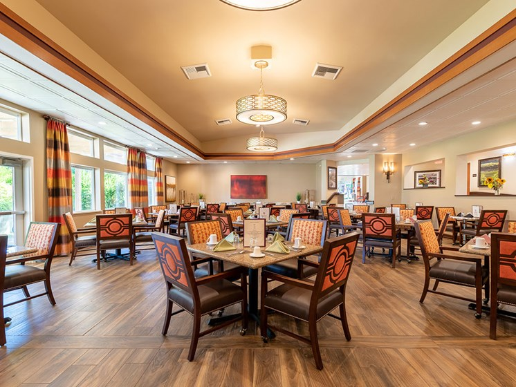 Decorated Dining Area at Healdsburg, A Pacifica Senior Living Community, California