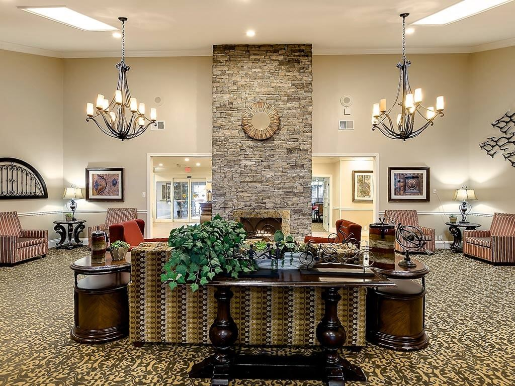 Living Room With Standard Fireplace at NewForest Estates, San Antonio, 78229