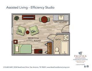 Assisted Living - Efficiency Studio Floor Plan at NewForest Estates, San Antonio, 78229